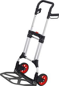 Meister 8985710 200 kg Capacity Foldable with Wheels Triple Height Adjustable Handle Large Loading Area with Solid Rubber Tread Aluminium Hand Truck