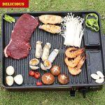 MERIGLARE Poêle à Griller Portable pour Barbecue épaissir La Poignée Accessoires de Pique-Nique Extérieur Intérieur Coréen