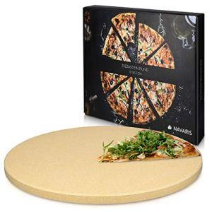 Navaris Pierre à Pizza pour Four XL – Pierre Pizza Ronde Ø 30,5 cm en Cordiérite – pour Four Traditionnel au Bois Barbecue Grill et Charbon