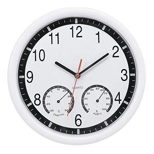 Pierre de Quartz Horloge Murale Silencieuse ThermomèTre PréCis Humidité Patio Piscine ExtéRieure IntéRieure
