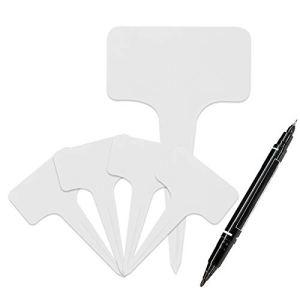 RUIYELE Lot de 120 étiquettes blanches en forme de T avec stylo à encre gel en plastique pour plantes pépinières, jardins et légumes