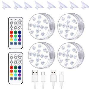 SHEDE Lumières LED sousmarines Éclairage IP68 Lampes sousMarines Multicouleur avec Télécommande 13 LED Contrôle des Lumières de Spa 16 Couleurs 3 Modes D'éclairage pour Fêtes Pâques Piscine Everyday