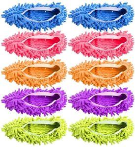 Shoe Slotz Lot de 5 paires (10 pièces) de chaussons multifonctions en microfibre doux lavables réutilisables pour nettoyage du sol