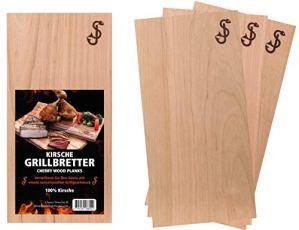 SJ Lot de 3 planches à fumer en bois de cerisier pur – Planches à griller en cerisier – Planches de bois aromatiques 100 % naturelles