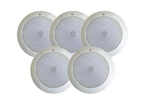 Swimhome Spot LED garni de résine blanche 18 W 6 000 K Idéal pour piscines en polyester en ABS (5 spots