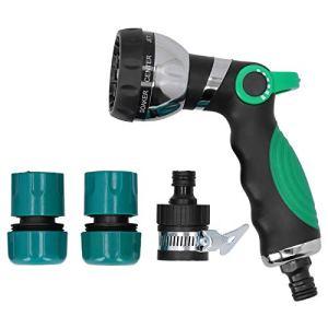 TEANQIkejitop Buse de pulvérisation pour tuyau d'arrosage sans arrosage, raccord rapide avec 8 modes réglables, convient pour l'arrosage de pelouse et de jardin, nettoyage et lavage de voiture