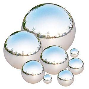 Tiberham Lot de 8 boules en acier inoxydable – 42-200 mm – Polies miroir – Creuses – Réfléchissantes – Balles flottantes – Pour la maison, le jardin, la décoration