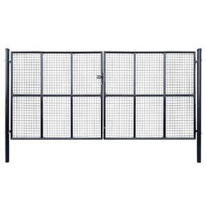 Tidyard Portail de Jardin/Portail de Terrasse/Portail de Patio en Acier Galvanisé Construction Robuste Gris 400 x 175 cm