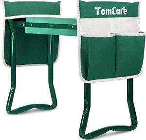 TomCare Banc de Jardin Pliable avec 2 Grandes Poches à Outils Vert