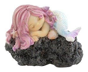 Top Collection Jardin Féérique Miniature et Terrarium Sleeping Little Mermaid on Rock Statue