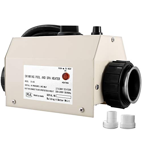 VEVOR Chauffe-piscine Thermostat 48mm Métal 220-240V Électrique Thermostat Piscine 2,7-3,3KW Chauffage Électrique Piscine 20-40℃ Thermostat Piscine Phase Unique 14A Appliqué à Petite Piscine