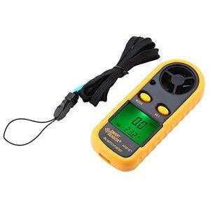 Walfront SMART SENSOR AR816 Anémomètre Numérique, LCDAnémomètre numérique Appareil de Mesure de La Vitesse du Vent, Manomètre, Jauge de Débit d'Air, Testeur de Vitesse, Thermomètre