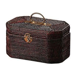 ZXNRTU Grand Cadeau Retro rotin Valise, Brown rotin Panier Pique-Nique en rotin Boîte de Rangement Voyage Valise (Color : Brown, Size : 10.63 * 6.49 * 5.51inchs)