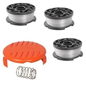1 lot de bobines de rechange pour débroussailleuse avec 3 bobines de rechange, 1 capuchon de bobine et 1 ressort, compatible avec BlackDecker AF-100