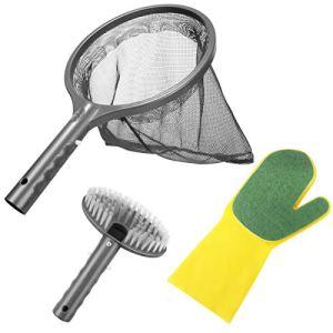Aiglam Kit de Nettoyage Piscine, 3PCS Kit d'Accessoires Nettoyage Pool Net avec Filet de Piscine, Brosse & Gant de Récurage pour Piscine Jacuzzi Spa Fontaine
