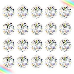 Aipaide Boule de Prisme 20 Pcs K9 Boule de Cristal Suncatcher Boule en Verre Clair Pendentif Attrape-Soleil Feng Shui pour Décoration de Maison Jardin Mariage Noël