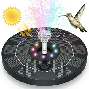 AISITIN Fontaine Solaire Extérieur 3.5 W avec Lumières Colorées LED et Batterie et 6 Buses, pour Jardins, Etangs, Bain d'oiseaux