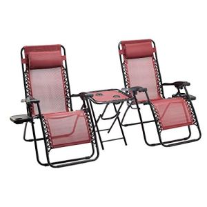 Amazon Basics Lot de 2 Fauteuils Relax Pliants avec Table d'appoint, Rouge
