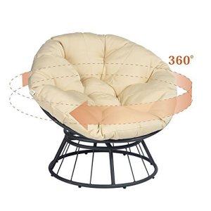 ART TO REAL Chaise papasan de luxe pivotante à 360° avec coussin doux – Chaise longue à bascule pivotante – Chaise longue longue à assise profonde – Coussin orange en tissu sergé solide (Kaki)