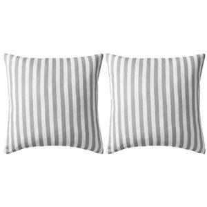 Ausla Oreiller à Rayures, Polyester avec 400 g de Rembourrage en PP Coussin de Jardin, Doux et Confortable, 2pcs Gris 45 x 45 cm