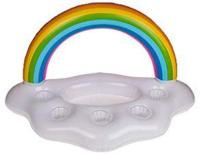 Bada Bing Porte-gobelet gonflable pour boissons – Motif nuage arc-en-ciel – Environ 85 x 50 cm – Cadeau pour piscine, bar, piscine