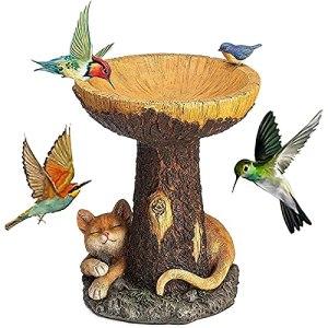 Bains d'oiseaux en résine de jardin, Bains d'oiseaux sur piédestal marron léger en polyrésine de forme animale, ornement de mangeoires d'oiseaux sauvages pour chat fait à la main (26 * 16 * 16cm)