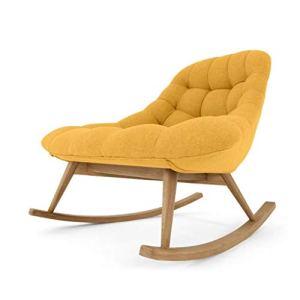 Balcon Fauteuil à bascule Petit canapé Salon Fauteuil lounge Conception ergonomique Éponge haute résilience Simplicité nordique