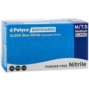 Bodyguard GL8952 Gant jetable sans nitrile sans poudre, bleu, moyen, paquet de 100