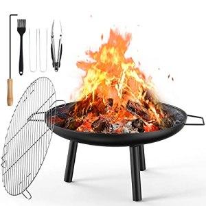 Brasero Terrasse, 60cm Brasero Fonte Exterieur pour Chauffage de Jardin et Barbecue avec Gril, Pinces à Barbecue, Poker pour Pique-Nique en Camping