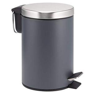 bremermann Poubelle à pédale avec système d'abaissement automatique 3 l (gris)