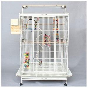 cage à oiseaux Grande cage perroquette avec cage d'oiseau debout Cage métallique de ceinture Mobile Chassis Macaw Moine Cage de reproduction, Convient au grand perroquet Canary Bird oiseau Birdcage