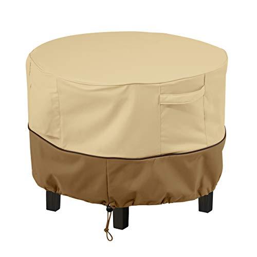 Classic Accessories 55-855-031501-00 Veranda Round Patio Ottoman/Coffee Table Cover X-Small Galets / écorce / Terre.