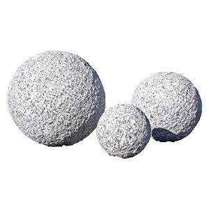 CLGarden Lot de 3 boules décoratives en granit bouchardé fait à la main décoration de jardin Rocaille japonaise