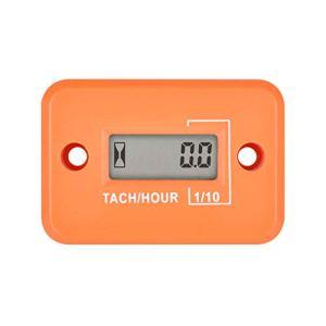 Compteur d'heures de mini tachymètre numérique Runleader, heures TOT accumulées, affichage du régime en temps réel, fonctionnement de la batterie pour la tondeuse à gazon ZTR Générateur de (Orange)