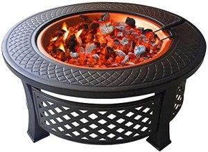 Cordless 3 en 1 Fire Pit Grill Feu de feu avec Barbecue Barbecuette de Barbecue, Table Ronde en métal de Plein air Table Ronde Fire Pit Patio Chauffe-terrasse/BBQ/Ice Pit
