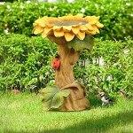Décorations de tournesol en polyrésine, mangeoire pour oiseaux sauvages faite à la main, tournesol sur piédestal marron en résine avec bain d'oiseau coccinelle pour jardin extérieur pelouse cour