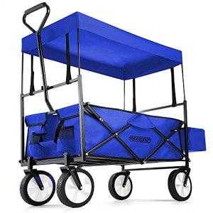 Deuba Chariot de Jardin Pliable 4 Roues avec Toit 100L Chariot de Transport à Main Bleu Chariot de Plage charrette remorque