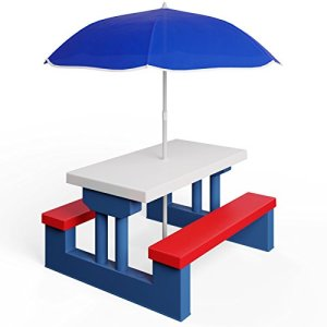 Deuba Salon de Jardin pour Enfants Table et bancs Ensemble de Jardin Bords arrondis avec Parasol Jeux Enfants intérieur extérieur transportable
