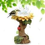 DKOUPTO Bain à Oiseaux de Tournesol à la polyresine, mangeoire à Oiseaux Sauvages à la Main avec piédestal Brun, Porte-Tournesol à la Main en résine de Tournesol de Tournesol, pour Jardin