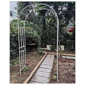 DunShan Arche Jardin Support pour Plante Jardin Trois Dimensions Métal Bois Connecteur Mise Terre Facile Installer Retirer Blanc Noir