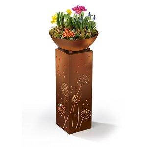 EASYmaxx 04092 Colonne décorative avec bac à Fleurs et éclairage intégré pour intérieur et extérieur Couleur Rouille