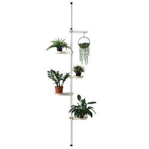 [en.casa] Support de Pot Fleur téléscopique Porte-Pot Stand de Plante Métal et Plastique Réglable en Hauteur Entre 110-305 cm Blanc