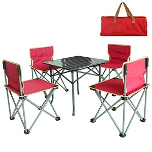 Ensemble De Meubles De Terrasse De Jardin 5 Pièces, Aluminium Extérieur Portable Table De Pliage Et Chaises pour Yard Boardside Balcon Camping BBQ,Red1