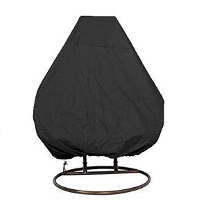 Fablcrew Housse de Fauteuil Suspendu Jardin 210D Oxford Couverture de Protection pour Oeufs Chaise Imperméable Protection UV Coupe-Vent et Étanche à la Pluie Noir 200 * 230CM