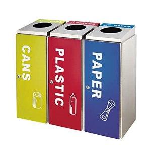 FEANG Poubelle Bac de conteneur à ordures en Acier Inoxydable, 3 poubelles carrées de bac avec étiquettes et seaux internes pour Une Utilisation Commerciale extérieure Boîte à ordures