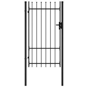Festnight Portillon Simple Porte Portail de Jardin Portail de Côture avec Dessus à Pointe Acier 1×1,75 m Noir