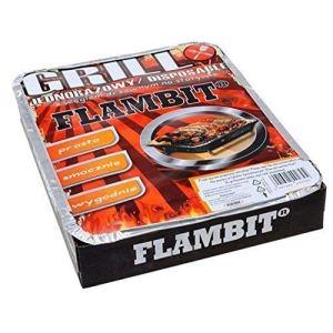 flambit einweggrill to go, avec anzüghilfe, charbon de bois,aluschale,24er Pack (24 x Grille)