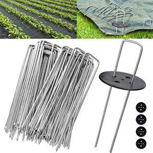 Flonatur Agrafes pour gazon artificiel, 100 piquets + 16 rondelles, mailles anti-herbe, piquets de camping sol dur, clous de jardin, ancrage sol Métal galvanisé à chaud. Ø 3 mm. 15 x 3 x 15 cm.