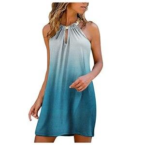 Fulltime® Robe d'été Femme Robe Dos Nu Sexy Élégant Col V Dégradé Imprimé/Couleur Unie/Multicolore sans Manches Évider Mini Robe Longueur Genou (Blue,2XL)