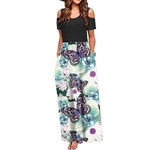 Fulltime® Robe d'été pour Femmes/épaule Froide imprimée Florale élégante Maxi Robe de Poche à Robe Longue (Blanc,M)